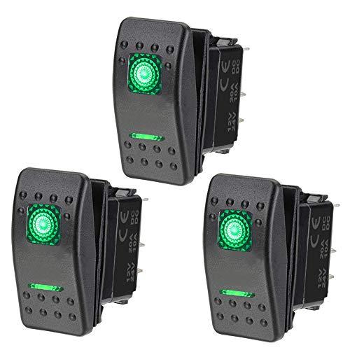 ETOPARS 3 X Coche Motor Interruptor Basculante Tablero Dos Luces Verde Encendido Apagado 5Pin SPST Interruptor Palanca Impermeable 12V 20A 24V 10A