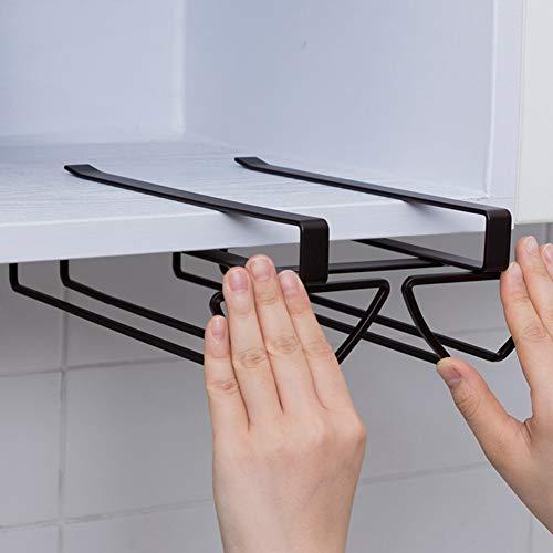ACXZ Soporte para Copas de Hierro para Colgante, Estante para Copas de Vino Debajo del gabinete, Organizador de Cocina de 2 Filas y Escurridor metálico para hasta (36 × 20 × 8,3 cm)