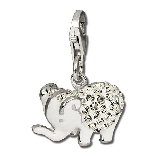 SilberDream Glitzer Charm Elefant weiß Zirkonia Kristalle Anhänger 925 Silber für Bettelarmbänder Kette Ohrring GSC510W