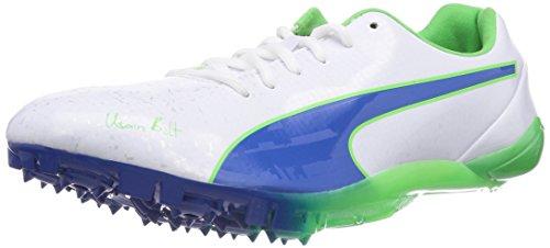 PUMA Bolt Evospeed Electric v2, Scarpe da Corsa Unisex-Adulto, Bianco (Weiß (01 White-Strong Blue-Fluo Green), 39