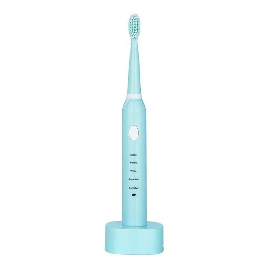 わがまま記憶に残る路面電車電動歯ブラシ, USBの充満基盤のホールダーと防水電動歯ブラシ (色 : 青, サイズ : Free size)