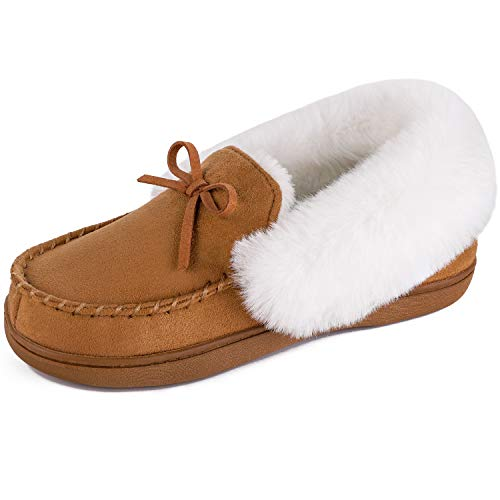 HomeIdeas Women's Faux Fur Lined Suede Comfort House Slippers, Anti-Slip Winter Indoor/Outdoor Moccasin Shoes (9 B(M) US, Brown)