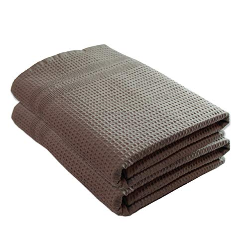 Gilden Tree Premium Waffle Weave Bath Towels 2 Pc Set 100% Natural Cotton Quick Dry Lint Free Soft Luxurious Fabric Solid Colors Oversized Thin Cloth Fade Resistant (Stone)