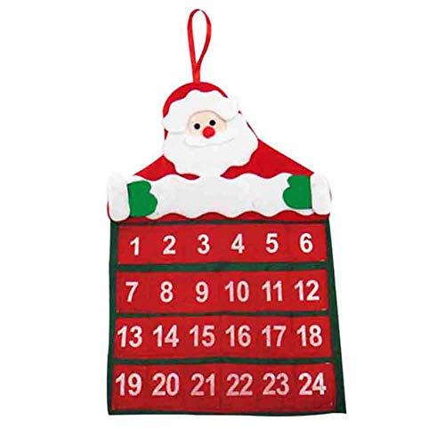 Aemiy Calendario de Adviento Santa Claus con Cuenta atrás en Tela no Tejida para decoración de Navidad