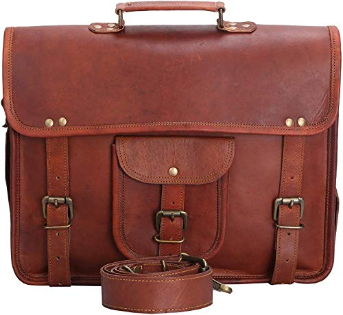 ALASKA EXPORTS Handmade Mens Genuine Vintage Leather Satchel Messenger Man Handbag Laptop Briefcase Bag New (11 X 15 inch)