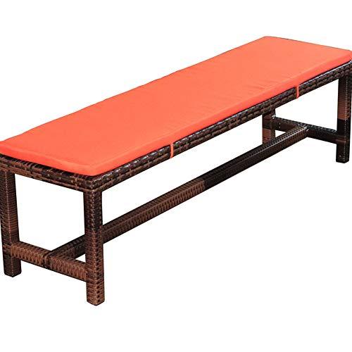 Cojín para banco de jardín, antideslizante, largo, para muebles de patio, asiento trasero de coche, viajes, 2 cojines de 3 plazas, Naranja, 150x40cm