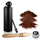 SIXAQUAE Manual Coffee Grinder with Adjustable Setting - Conical Burr Mill & Brushed Stainless Steel Whole Bean Burr Coffee Grinder for Espresso,French Press,Drip Coffee,Turkish Brew,Black