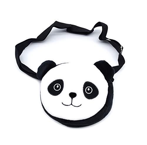 Plüsch-Tasche mit verstellbarem Schultergurt und Reißverschluss, 14 x 12 cm, Panda-Motiv