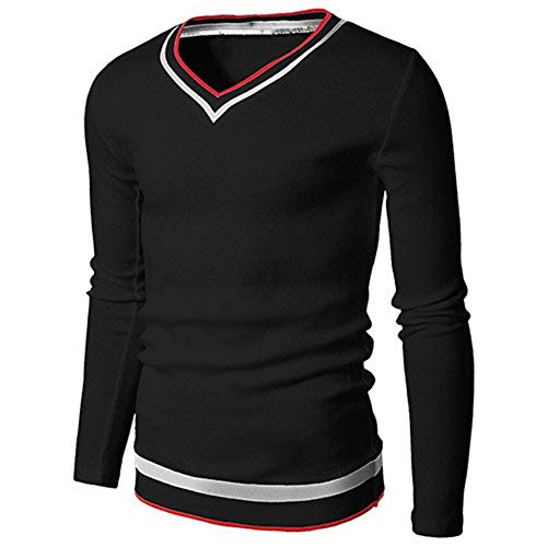 KXZD Mens Casual Slim Fit Basic Designed V-Neck Pullover Sweater Men's Knit Jumper Sweater Long Sleeve Casual Pullover Top Long Sleeve Sweater Knitted Jumper Fine Striated Pullover Knitwear Black