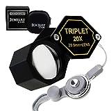 GAIN EXPRESS 20x Aumentos 20.5mm Joyero Gema Lupa Triplete Lente Lupa Joyería Vidrio óptico
