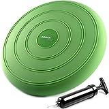 POWRX Cojin de Equilibrio Hinchable (33x6 cm) - Balance Disc Ideal para Ejercicios de propiocepción, Gimnasia postural y rehabilitación - Bomba para inflar incluida + PDF Workout (Verde)