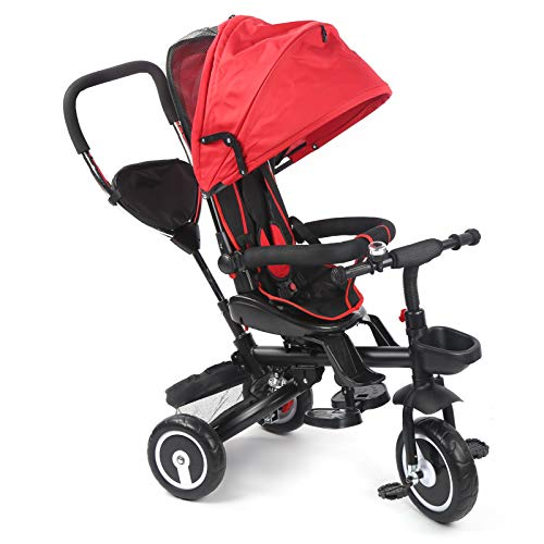 EBTOOLS Tragbarer Kinderkraft Dreirad Klappbar Kinderdreirad bis 25kg, Geeignetes Alter 1 bis 5 Jahre, 110 x 100 x 50 cm(red)