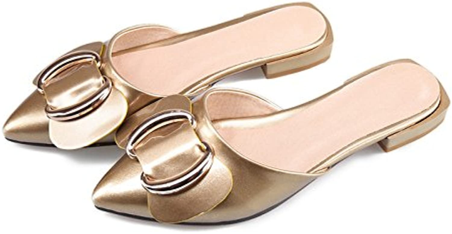 Dahanyi Stylish 2018 shoes Women Slides Pointed Toe Bow Slides Mules shoes Slippers Flat Sandals Ladies Summer Sandals gold Wine