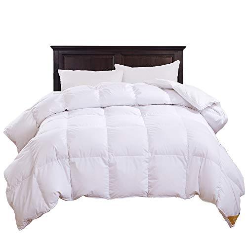 puredown All Season Luxury White Down Comforter Down Fiber Duvet Insert 100% Cotton Shell Down Proof,Baffle Box Stitched King/Cal King Size