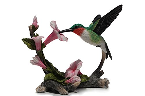 US 5.75 Inch Ruby Throated Hummingbird Statue Figurine, Pink and Green