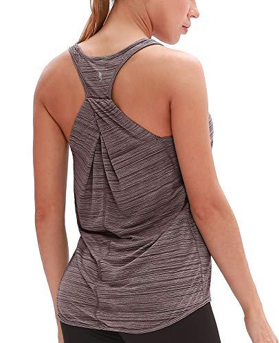icyzone Damen Yoga Fitness Tank Top Lang - Training Jogging Ärmelloses Shirt Sport Oberteil Tops (M, Burgundy)
