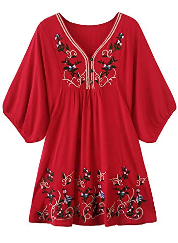 Doballa Damen Boho Tunika Hippie Kleid Gestickt Blumen Mexikanische Bluse, Blume Rot, M