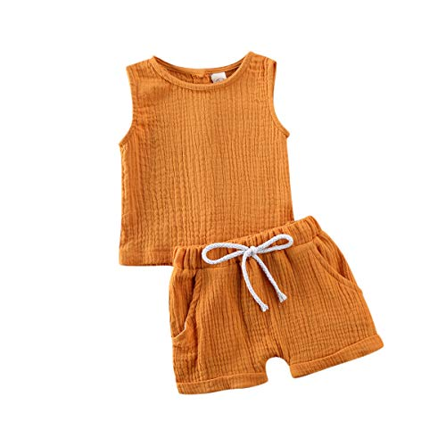 FASNKFHo Toddler Kids Baby Boy Girl Cotton Linen Clothes Solid Color Knitted Vest Tops Short Pants Summer Outfits (Yellow, 6-12 Months)
