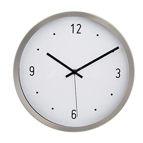 AmazonBasics - Reloj de pared, horas marcadas con punto, 30,5 cm, níquel