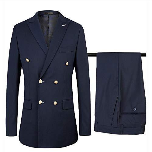 NOBRAND zweireihiger Anzug Herren Slim Fit Hochzeit Anzug für Herren Königsblau Smoking Anzug Hose 2 Stück Europäische Größe Gr. XXXL, marineblau