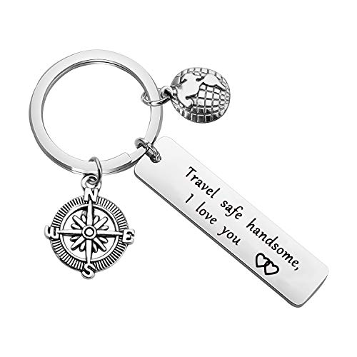 CYTING Traveller Keychain Gift Travel Safe Handsome I Love You Compass Keychain Travelling Jewelry Safe Travels Gift for Dad Husband Boyfriend Son (Travel Safe Handsome I Love You)
