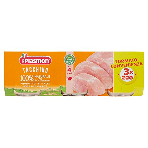 Plasmon Omogeneizzato di Carne, Tacchino - 24 Vasetti da 80 gr