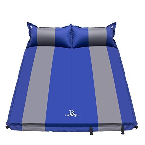 R Doppel Isomatte Selbstaufblasbare Campingmatratze mit 2 Kissen für Camping Outdoor, Super Komfort für 2 Personen 192 x 132 x 5 cm (Blau)