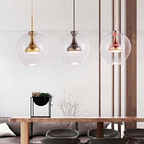 XinMei - Lámpara de araña de cristal con diseño moderno y simple, estilo nórdico, para sala de estar, lámpara de araña LED de 23 x 30 cm de alto diámetro moderno (color: oro rosa)