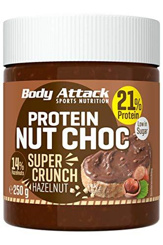 Body Attack Protein Nut Choc, Super Crunch Hazelnut, 250 g, Nuss-Nougat-Creme mit 21% Protein, Schokocreme ohne Zuckerzusatz, Palmölfrei und mit echten Haselnüssen