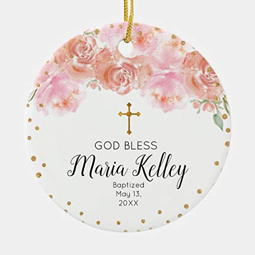 Pink Floral Personalized Girl Baptism Ornament, Made in USA