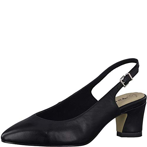 Tamaris Damen Pumps 29611-24, Frauen Sling-Pumps, Damen Frauen weibliche Ladies feminin Women's Women Woman Business,Black Leather,37 EU / 4 UK