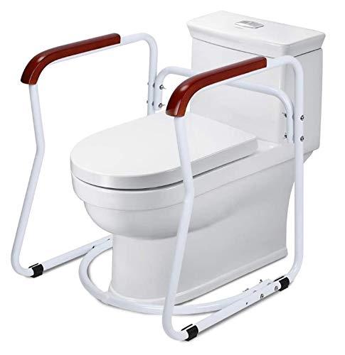 Toilettengestell Toiletten Aufstehhilfe, Sicherheitsgestelle für Toiletten Aufstehhilfe Toilette Toilettengestell Rutschfest WC-Aufstehhilfe mit Hölzernen Armlehnen und Gummifüßen