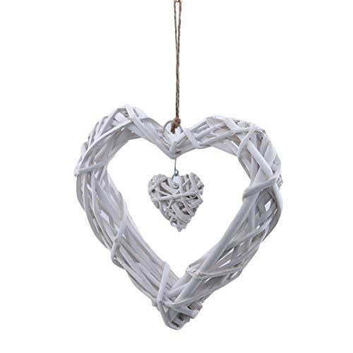 YSINFOD Herz Kranz Hängen Niedlichen Anhänger Romantische Wicker Dekoration Süße Wandbehang Ornament für Vintage Hochzeit
