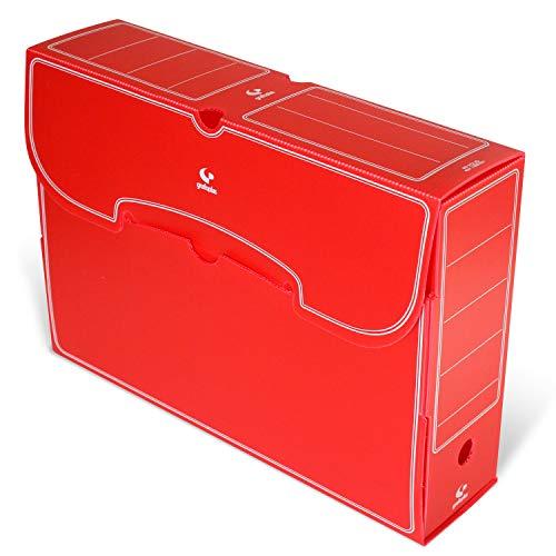 Grafoplás 70905851. Pack de 25 Cajas de Archivo Definitivo Plástico, Color Rojo, Tamaño Folio, 36x26,3x9,5cm