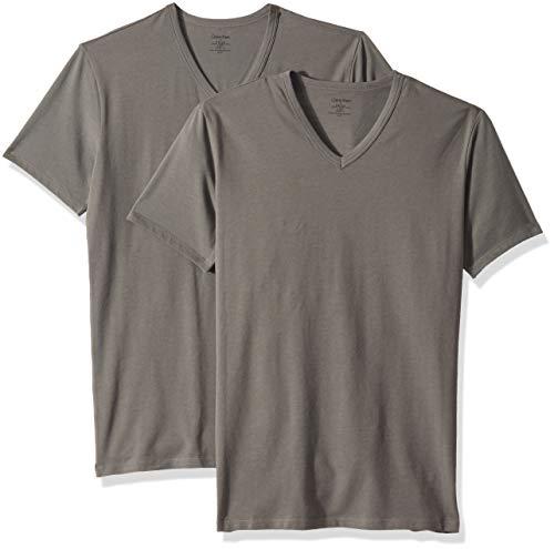 Calvin Klein Men's Cotton Stretch Multipack V Neck T-Shirts, Grey Sky, M