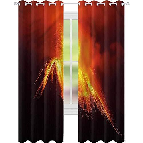 YUAZHOQI Cortina de ventana Drape Volcán Tungurahua Explosión Noche para Niños Decoración Personalizada Cortinas 132 cm x 274 cm (2 paneles)