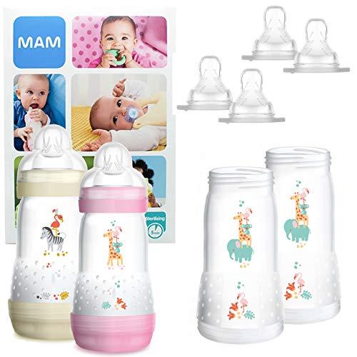 MAM Essential Bottle Set, Accessori bimbi con 2x Biberon Anti-Colic (260ml) e 2x Holder biberon anticolica (320ml), Biberon neonato con 4x tettarella