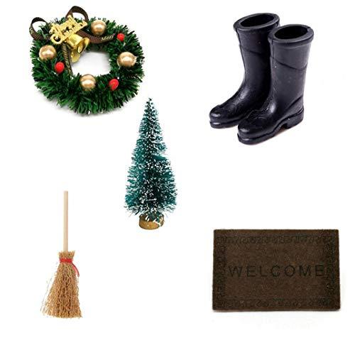 NaisiCore Puppenstuben-Weihnachtskranz, 01.12 Weihnachten Garland Besen Regen Stiefel Weihnachtsbaum Fußmatte Set für Puppenhaus Ornament Handwerk Zubehör (5PCS / Set)