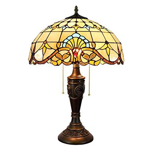 Busirsiz Tiffany Lámpara de Mesa barroca Shade 16 Pulgadas del Estilo del vitral de Tiffany Cubierta Habitación (40 cm) Vida de la lámpara lámpara de cabecera