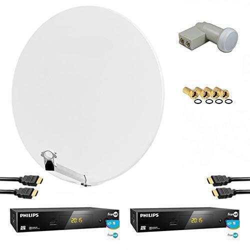 Kit de parabólicos satélite HD 4K Fibra Blanca 85 cm + LNB Twin + 2 reecutores de TV FranSAT con tarjeta