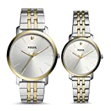 Fossil His and Her Lux Luther Three-Hand Two-Tone Stainless Steel Watch Gift Set BQ2467SET