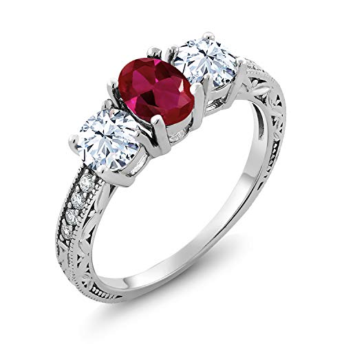 Gem Stone King 925 Sterling Silver Red Created Ruby 3-Stone Women's Engagement Ring (2.52 Cttw Oval Available 5,6,7,8,9) (Size 6)