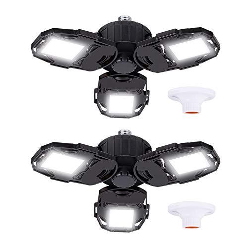 Led Garage Lights 2-Packs, 80W 8000LM Deformable Triple Glow Garage Lighting with 3 Adjustable LED Panels, E26 Ceiling Light Led Shop Lights for Garage Warehouse Basement Workshop and Yard