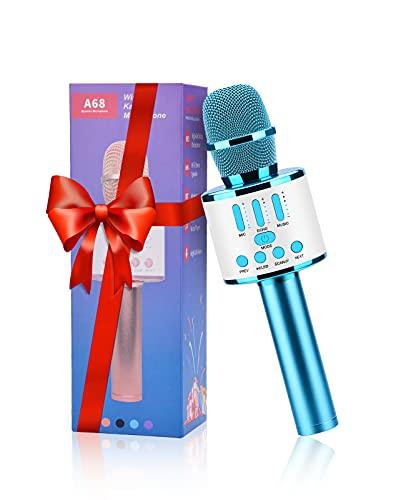 FISHOAKY Microfono Karaoke Bluetooth, 5 en 1 Micrófono Inalámbricos Niños Canta Portátil con Altavoz y Luces LED, Función de...