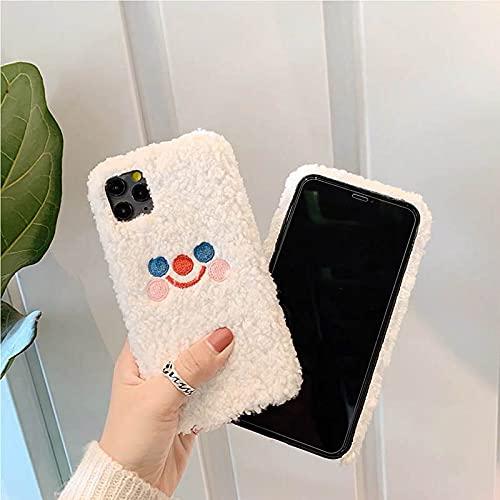 Custodia per cellulare in peluche con faccina sorridente per Samsung Galaxy S21 Ultra S20 FE A12 A52 S10 S9 S8 Plus S7 Note20 A21S A50 A70 A51 A71 Cover, bianca, per S7 Edge