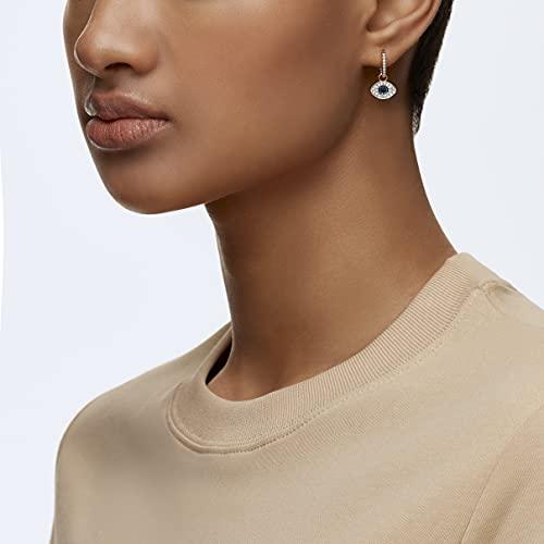 SWAROVSKI Women's Symbolic Evil Eye Hoop Pierced Earrings, Multi-colored, Rose-gold tone plated