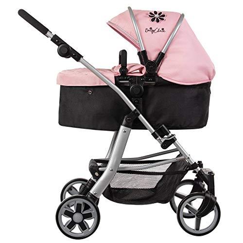 Daisy Chain Connect-5-in-1-Puppenwagen – Stoff in Classic Pink. Empfohlen für Kinder zwischen 4 und 8 Jahren.