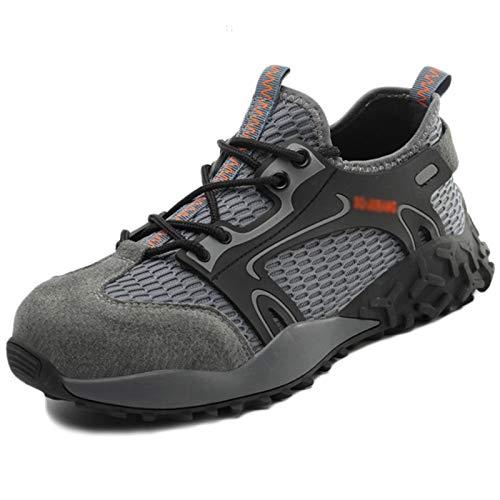 Koyike Calzado de Trabajo de Seguridad para Hombres Calzado Deportivo con Gorra de Acero Botas con Cordones de Seguridad de Malla Transpirable,Grey-46