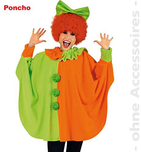 Unbekannt Karneval Clown Poncho Neon, 2-farbig, Größe Uni