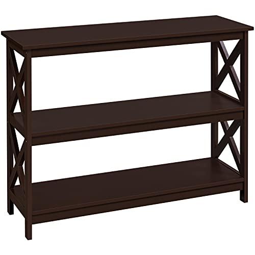 Topeakmart Wood X-Design Montego Bookcase Bookshelf with 3 Storage Shelves Display Rack Stand Shelving Units for Home Office/Living Room, Espresso